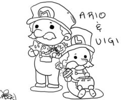 Mario and Luigi Outline by SolbiiMelody