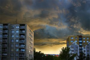 Housing estate under the storm by vlastas
