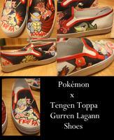 Pokemon x GurrenLagann Shoes by theflavouroflife