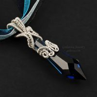 Blue Prism Wrapped in Sterling Silver by Gailavira
