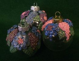 Trio of flowers clay ornament by ladytech