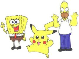 SpongeBob, Pikachu, and Homer by nintendomaximus