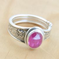 Spoon Ring with Ruby and Rose by metalsmitten