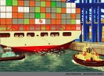 Container Ship, Late Afternoon by Steventon