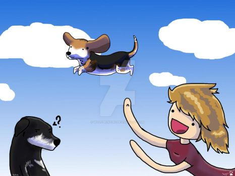 Caution: Flying Beagle Muffins by WolfPrint267