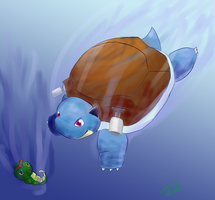 [P] 009 + 010: Blastoise and Caterpie by Tiiria