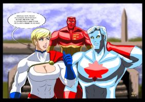 Public Enemies - Powergirl and Captain Atom 2003 by adamantis