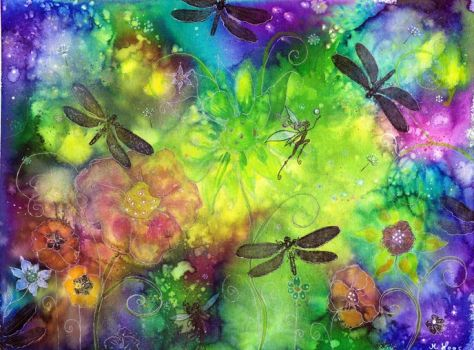 dylusions Ink spray Dragonfly dance by dragonflywatercolors