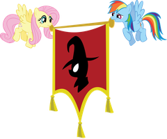 Fluttershy and RD holding a flag by Tollaner
