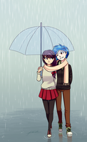 Commission: Under the rain by Kare-Valgon