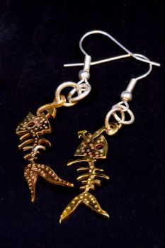Fishbone Earrings by PiratesGlory
