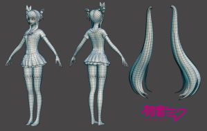 Hatsune Miku: Low Poly by HazardousArts