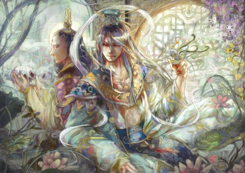 Sun god and flower by gallant11101110
