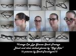 Vintage Black and silver etched Cat Eye glasses by Stock-Tenchigirl15