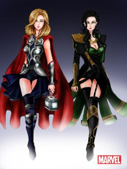 Avengers: Thor and Loki Godesses by aerith0808