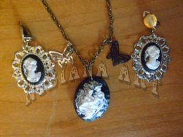 Cameo Earrings Necklace set 2 by AxelOfArt