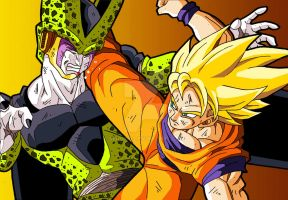 Cell and Goku by Sersiso
