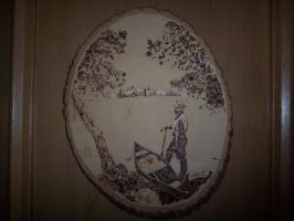 wood burning-man with boat by Vsemb