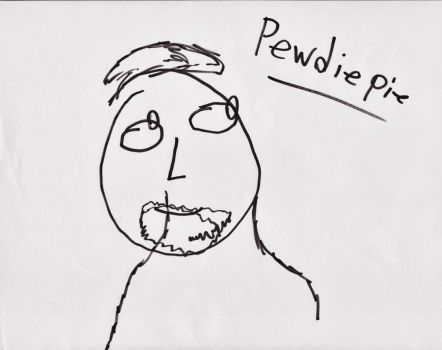 blindfolded drawing of pewdiepie by AkaylaxVitani