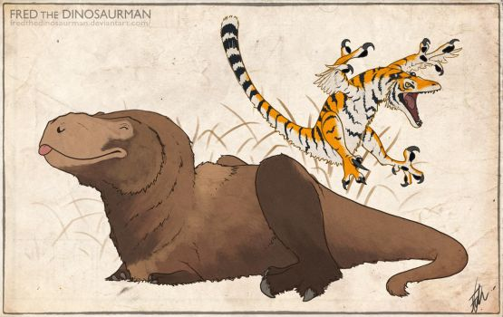 Grizzly Rex and Tiger Raptor Doodle by FredtheDinosaurman