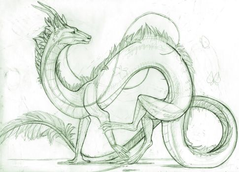 Haku- spirited away sketchie by Mizehri