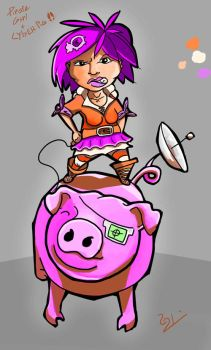 Pirate girl and cyber pig by SpankTheEvilmonkey