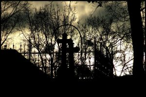 Sunset over cemetery by Necrotrup