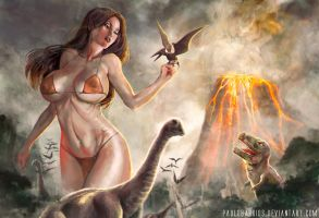 giant girl on the island of  dinosaurs by paulobarrios
