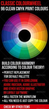 Classic Color Theory Wheel 96 Clean Print Colours by theminimalnet