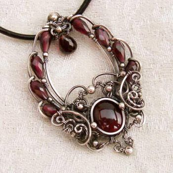Time Traveler Silver Garnet Pendant by Wiresculptress