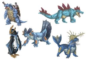 Realistic Pokemon Sketches: Water Final Evolutions