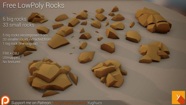 [Free] LowPoly Rocks set01 by Yughues