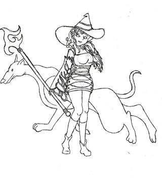 Relm as Black Mage -uncolored by Trelweny