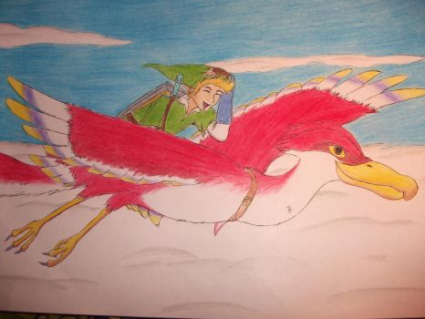 Link on his Loftwing by IlikePBandJ
