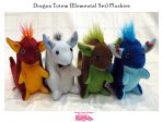 Set of 4 Elemental Dragon Totem Plushies by SPPlushies