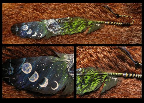 Paint on feather: Moon poison by WolfRoad