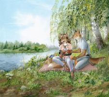 On the riverbank by Neko-Art