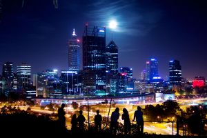 Moon Over Perth Skyline 1st December by raitophotography