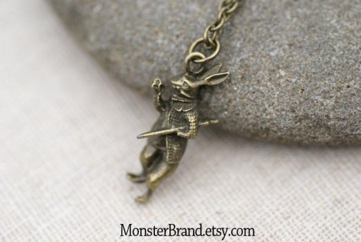 Vintage White Rabbit Necklace by MonsterBrandCrafts