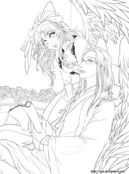 Lineart : Peaceful Night by Zue