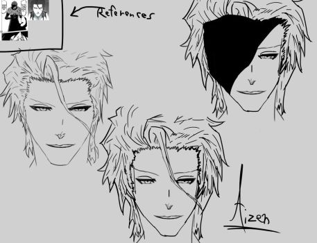 Road to Drawing Aizen (references on top) by PerfectChaoX