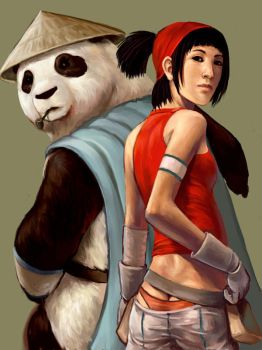 Audri and the panda by JeffChangArt