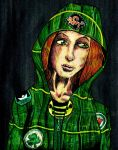 Portrait comission redhead in green by Ace0fredspades