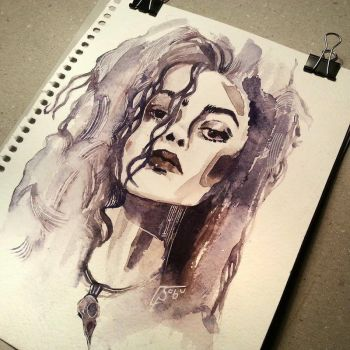 Watercolor Bellatrix Lestrange by as-obu