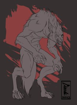 Werewolf commission by Aivomata