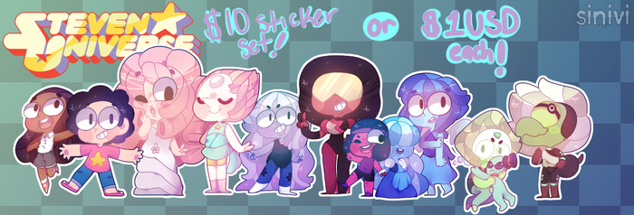 :.Steven Universe Sticker Set! $10/FREE SHIPPING.: by sinivi