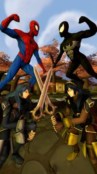 Spider-Man and Lucina  against their evil clones by kongzillarex619