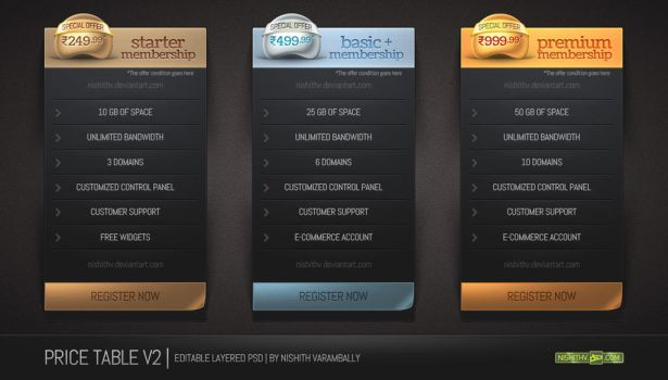 Price Table Set V2 PSD by NishithV