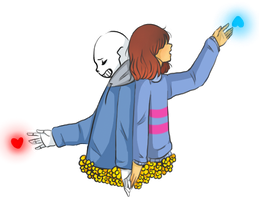 Sans and Frisk by Rimoussitta