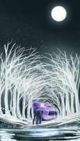 Luna in white forest by IFtheMaineCoon